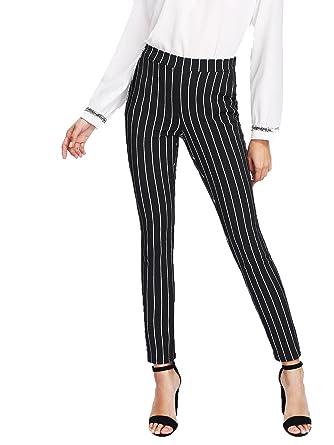 626d3e4283f0b2 SweatyRocks Women's Casual Long Pants Striped Stretchy Elegant Work Pants  Black XS