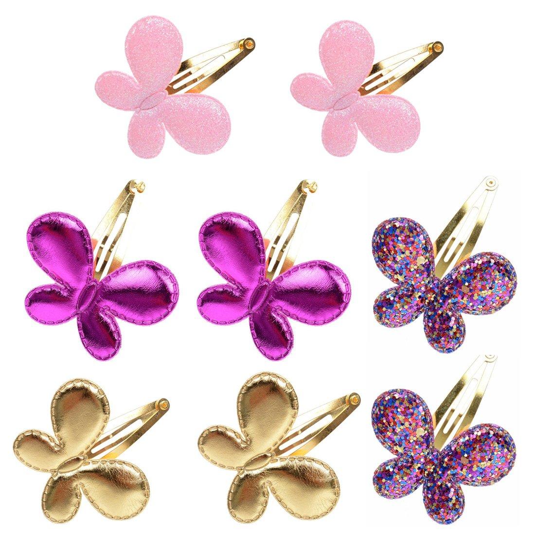 8Pcs Girls Sequins Butterfly Barrettes Glitter BB Hair Clips Kids Hairpins