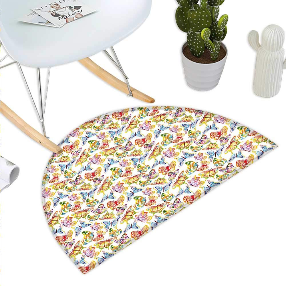 color04 H 27.5  xD 41.3  Butterfly Semicircle Doormat Vintage Inspirations in Soft colord Floral Arrangement with Sketch Style Animals Halfmoon doormats H 27.5  xD 41.3  Multicolor