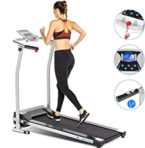 ANCHEER Treadmill, Treadmills for Home with LCD and Pulse Rate Grips Motorized Running Walking Jogging Exercise Fitness Machine