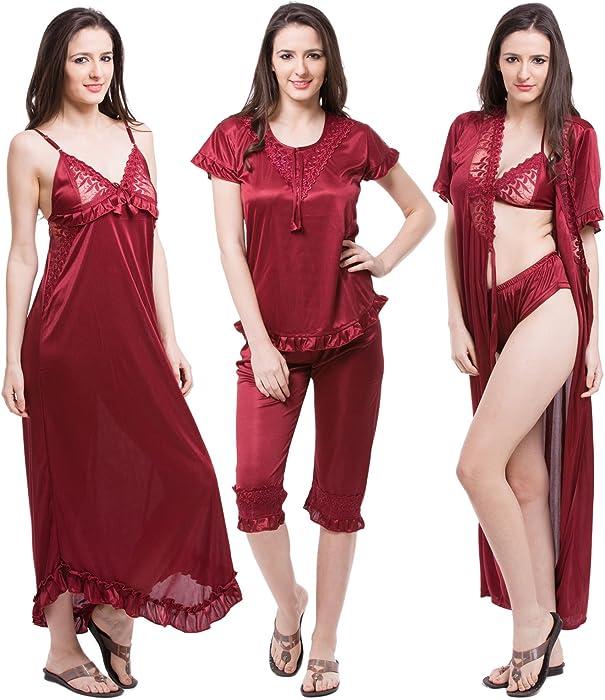 4ce98fff9b Fasense Women s Satin 6 Pcs Set Of Nighty Robe Top Capry Bra   Panty Medium  Maroon at Amazon Women s Clothing store