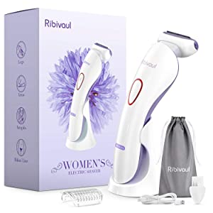 Electric Razors for Women, Ribivaul Electric Shaver with 3-in-1 Shaving Blade, Rechargeable Womens Razors with 3 Charging Mode and LED Light, Wet and Dry Use Razor for Arms, Legs, Bikini Area, Purple