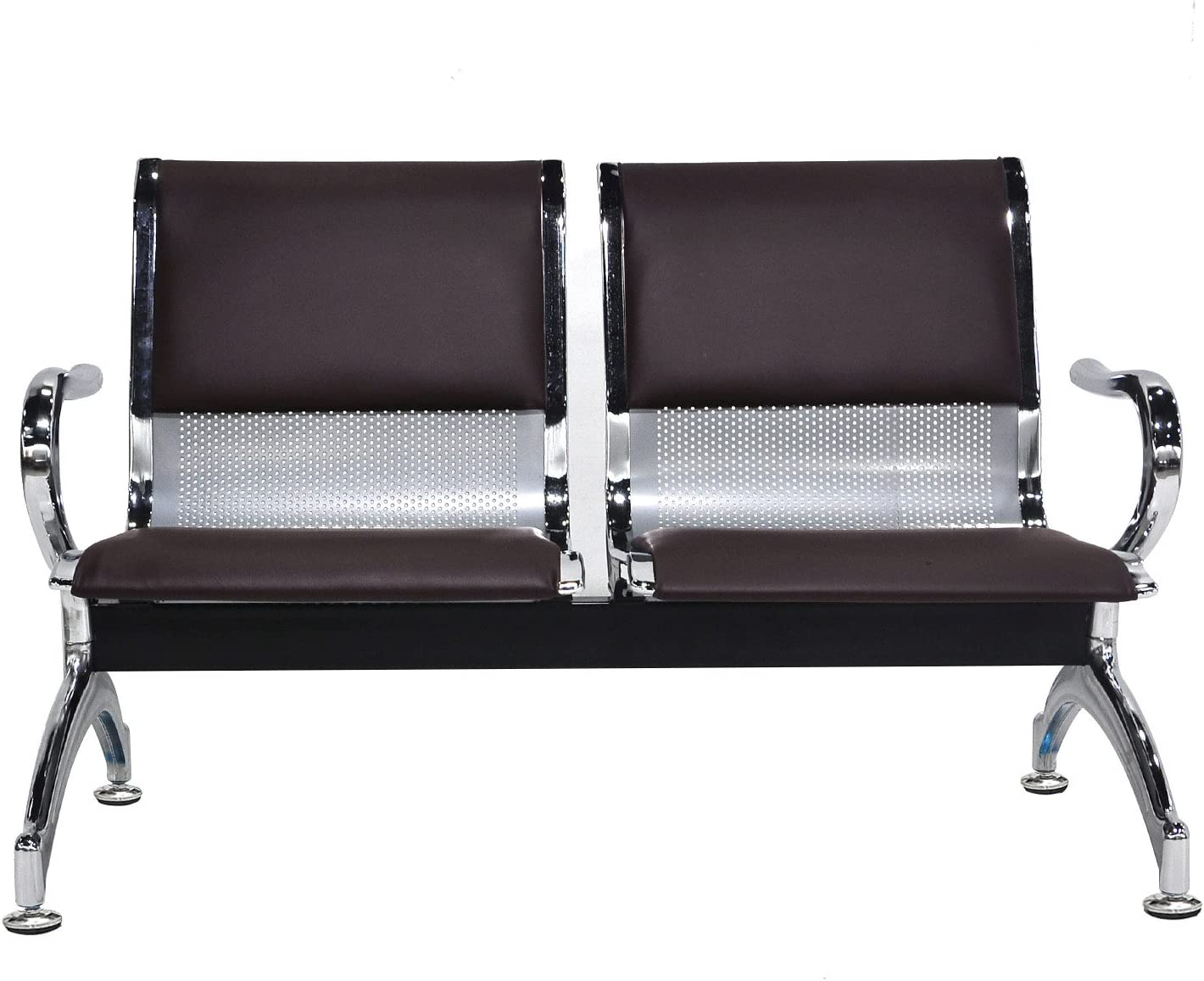 WONLINE 2-Seat Guest Airport Reception Waiting Room Chair Lobby Garden Salon Barber Benches Bank Hall Hospital Waiting Bench Furniture Brown PVC Leather Cushion