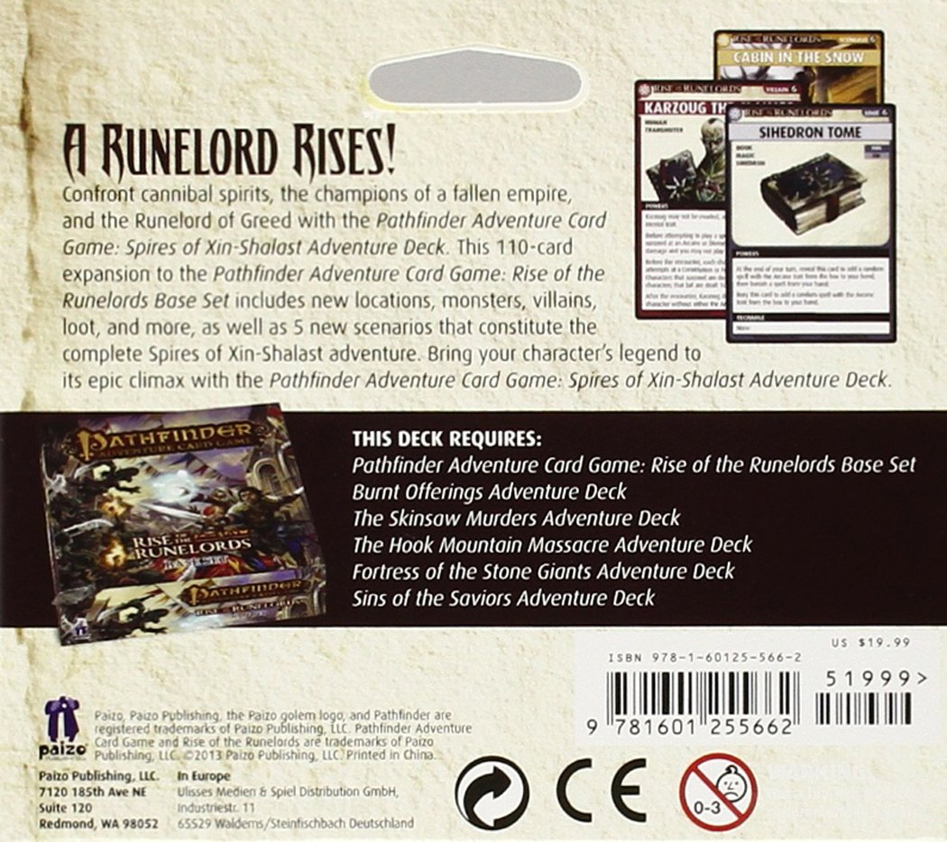 General Role Playing /& Fantasy APR142377 Card Games General ANF: Hobbies and Games Games /& Activities // Card Games // General Pathfinder Adventure Card Game: Rise of the Runelords Deck 6 Spires of Xin-Shalast Adventure Deck Lone Shark Games Paizo Inc