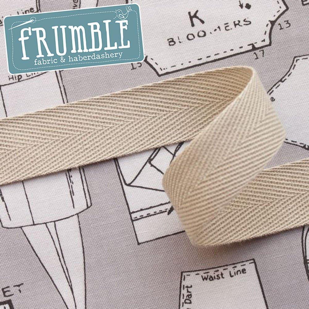 20 mm marrón marrón Herringbone cinta rollo de 5 m – Asa bolsa bandolera algodón banderines de cinta cinta de costura para recortar: Amazon.es: Hogar