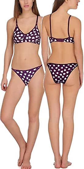 71237f4697 FIMS® Women s Cotton Sexy Bra Panty Bikini Lingerie Set Pack of 1-Purple-