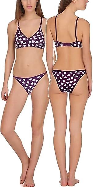ff81036ddffa9 FIMS® Women s Cotton Sexy Bra Panty Bikini Lingerie Set Pack of 1-Purple