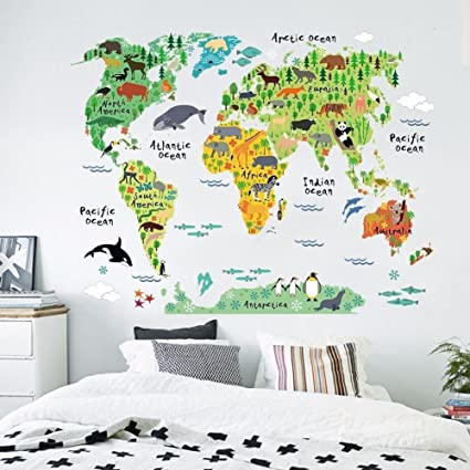 Zooarts Sticker Mural En Vinyle Pour Chambre D Enfant Motif Carte Du Monde Et Animaux