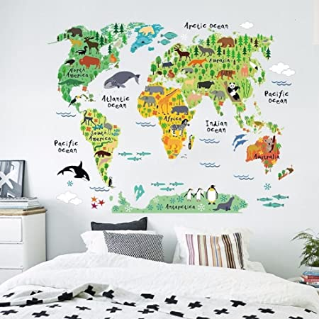 Zooarts Animals World Map Vinyl Mural Wall Sticker Decals for Kids ...