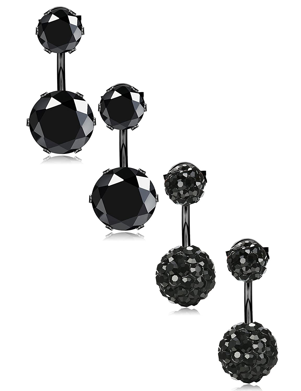 JOERICA 2 Pairs Stainless Steel Double Ball Stud Earrings for Women Girls Jacket CZ Earrings