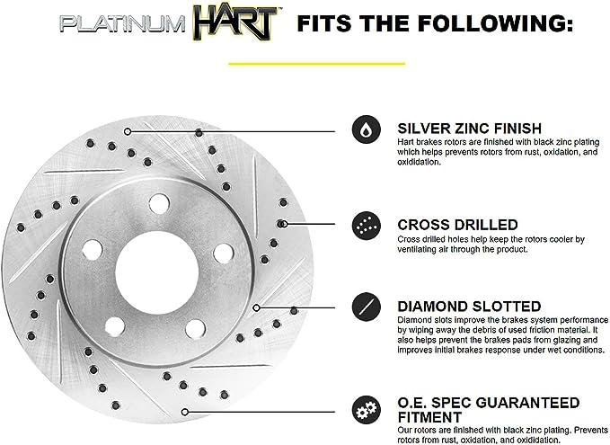 Fit 2005 Dodge Magnum Front HartBrakes Drill Slot Brake Rotors+Ceramic Brake Pad