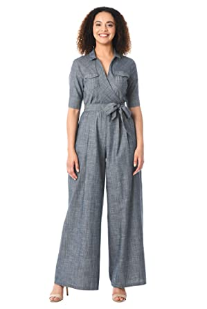 a1e5f67d643e Amazon.com  eShakti Women s Sash tie Belt Surplice Chambray Jumpsuit   Clothing