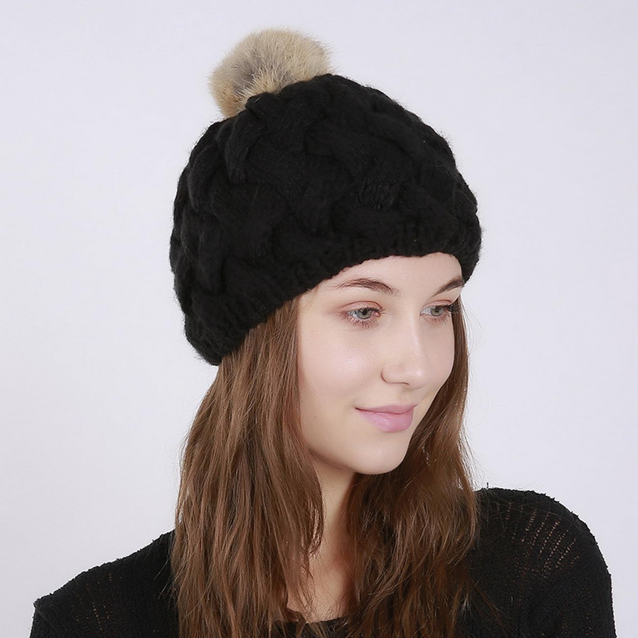 fa31972e251a Amazon.com  KUAILEJIA new solid bamboo ladies wool hat rabbit fur ball  knitted hat warm wool hat ladie  Sports   Outdoors