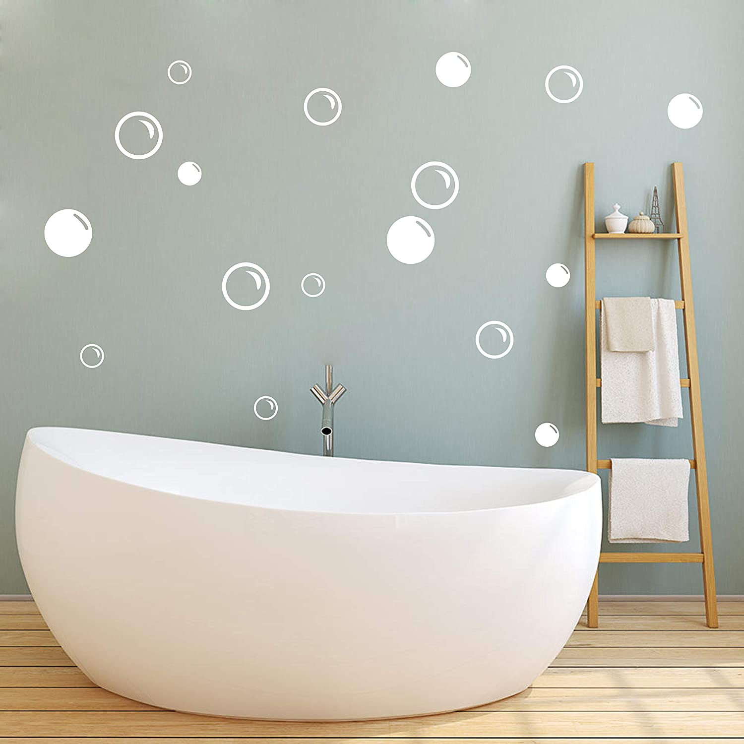 90 Large Soap Bubbles Wall Decals, Bathroom Decals, Wall Art, Vinyl Stivkers for Bathroom, Bedroom, Nursery Decor A35 (White)