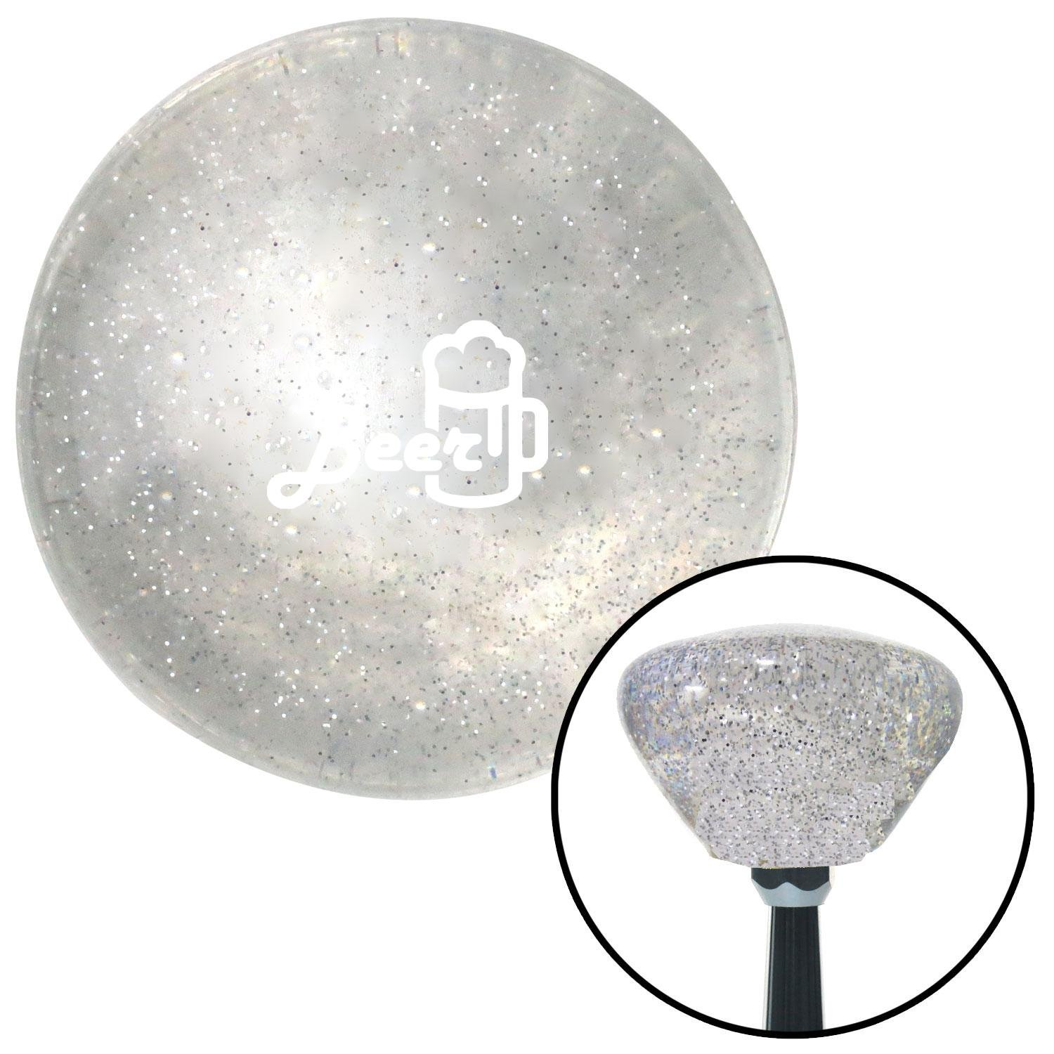 American Shifter 286214 Shift Knob White Beer and Mug Clear Retro Metal Flake with M16 x 1.5 Insert