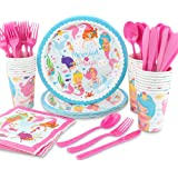hapycity 144Pack mermaid Party Supplies Set Serves 24 Perfect mermaid Birthday Packs Including Plates Napkins Cups Forks…
