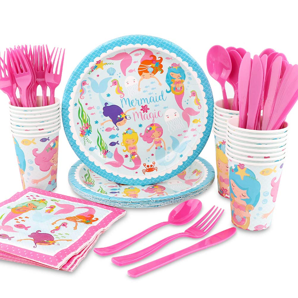 hapycity 144Pack mermaid Party Supplies Set Serves 24 Perfect mermaid Birthday Packs Including Plates Napkins Cups Forks Spoons Knives