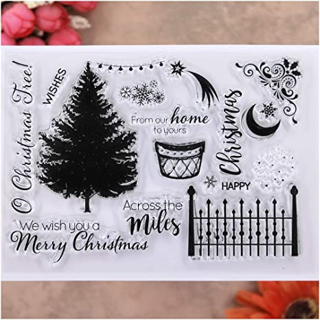 KWELLAM Merry Christmas Tree Snowflake Clear Stamps for Card Making Decoration and DIY Scrapbooking