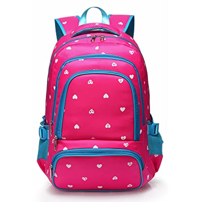 Lightweight Girls School Bags for Kids Backpack for Junior Students Child Shoulder Bag Back Pack(Rose Red & Blue) | Kids' Backpacks