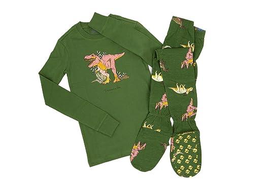 cc84adf104e4 Amazon.com  Big Feet PJs 2 Piece Footed Pajamas Jurassic Dinosaurs ...