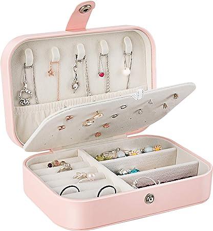 Gifort Caja Joyero Pequeña, Joyero de Viaje Cajas para Joyas Jewelry Organizer para Mujer, para Anillos, Aretes, Pendientes, Pulseras y Collares: Amazon.es: Hogar