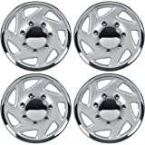 """BDK Ford Hubcaps Wheel Cover, 16"""" Chrome Replica Cover, OEM Factory Replacement (4 Pieces)"""