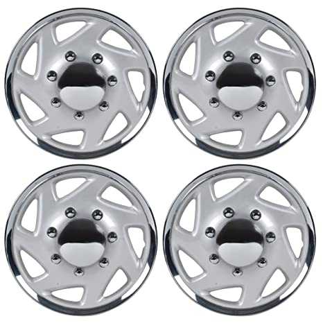 BDK KT-317-16-CS_AMZKING Silver 16 Hubcaps Wheel Covers (16 inch