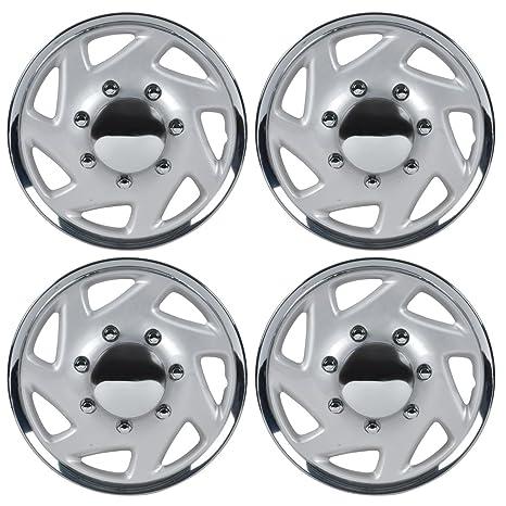BDK KT-317-16-CS_AMZKING Silver 16 Hubcaps Wheel Covers (16 inch