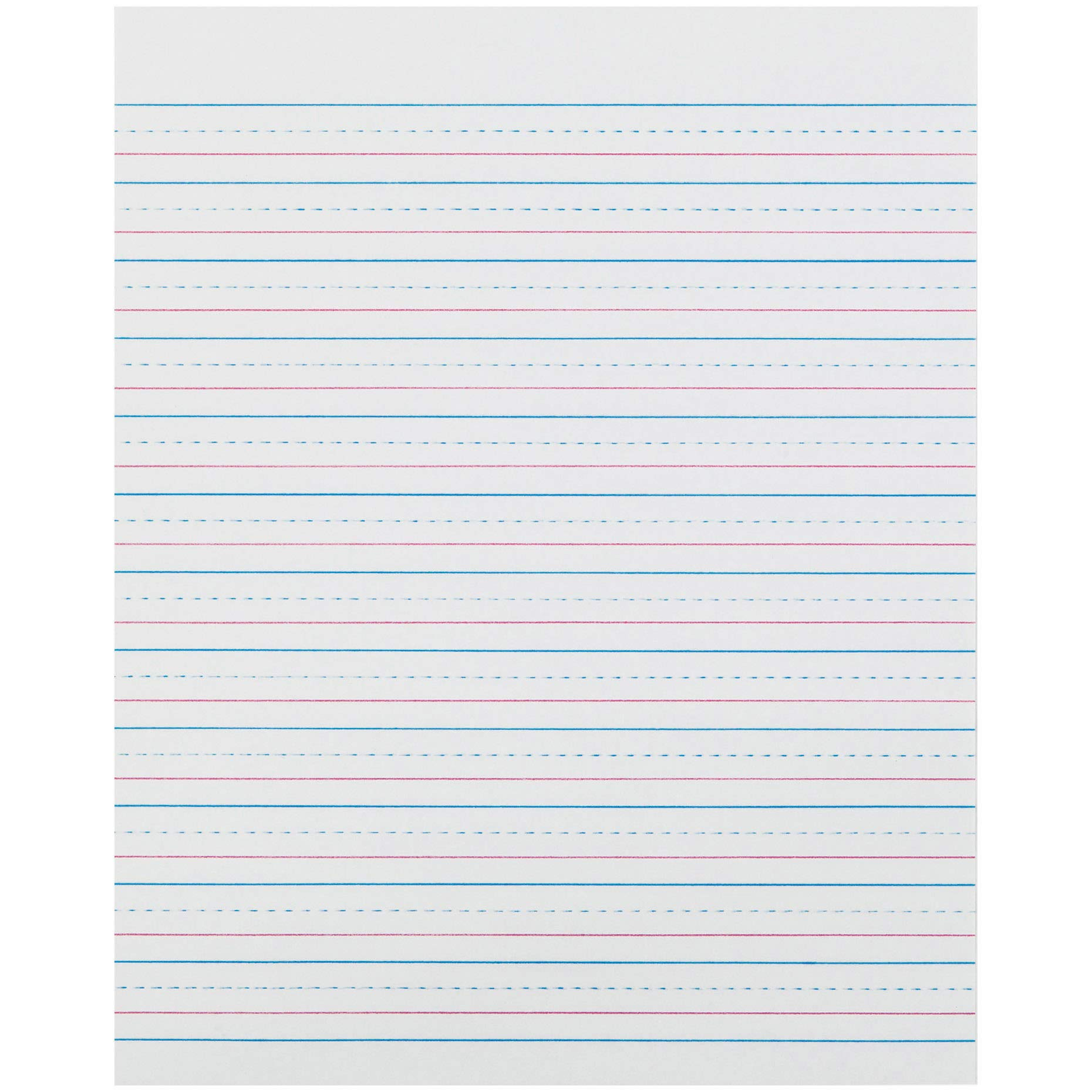 Pacon PACZP2413 Zaner-Bloser Sulphite Handwriting Paper, Dotted Midline, Grade 2, 1/2'' x 1/4'' x 1/4'' Ruled Short, 8'' x 10-1/2'', 500 Sheets by Pacon