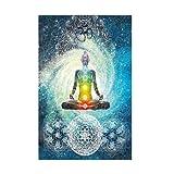 Tapisserie indienne Statue de Bouddha par Wingbind, Mandala Wall Méditation Batik Hippie Om Signe Chakra Tapisserie Dortoir Suspendu Chambre Salon Décorations Bohème Tapisserie Tenture murale Tapisserie Rideau de plage