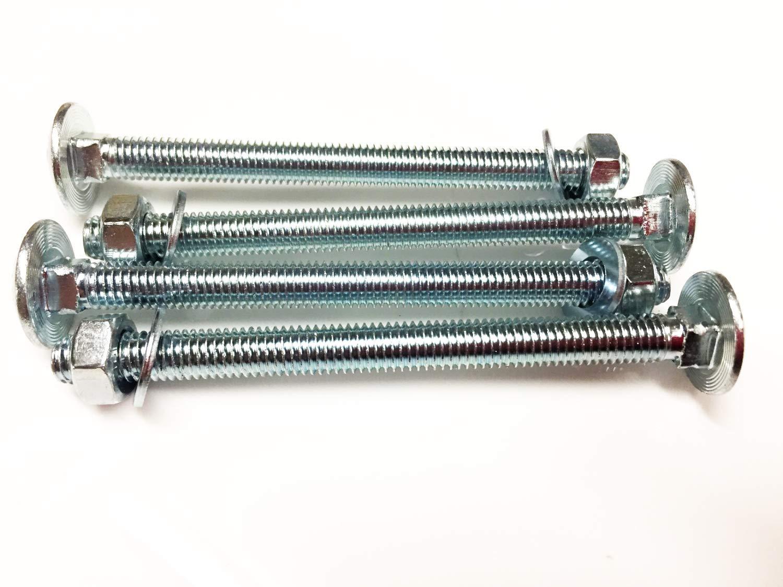 BZP 4.8 Lot de 4 boulons /à t/ête carr/ée M8 x 100 avec /écrous complets et rondelles Forme A DIN 603