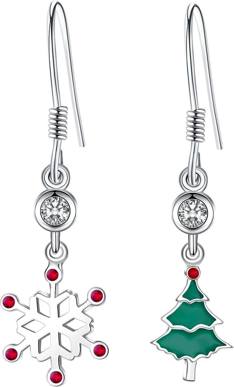 J.Endéar Pendientes plata de ley 925, pendientes pequeños y bonitos de Navidad, regalos con caja de joyería hipoalergénico