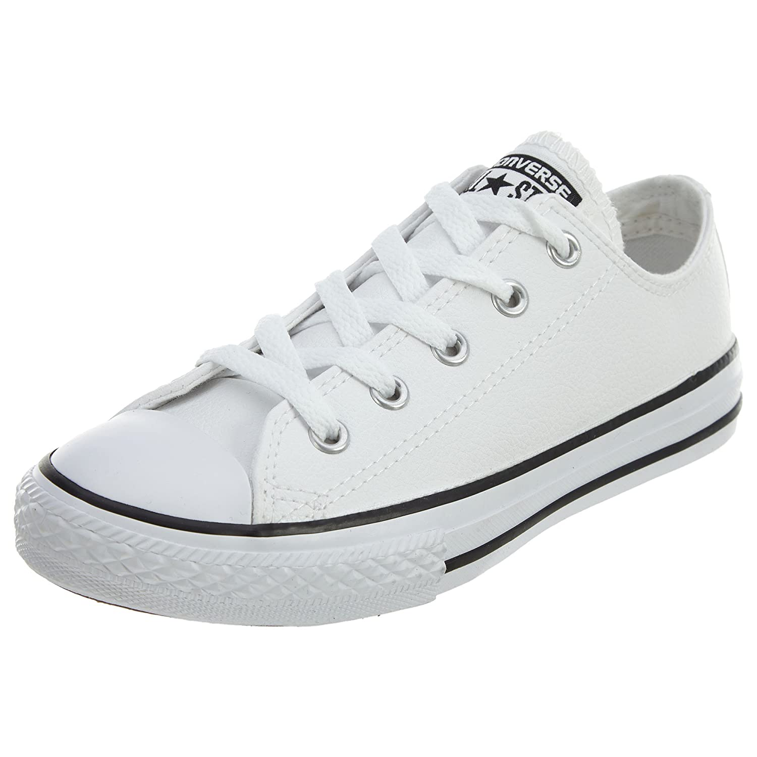 Weiß Leather Converse Unisex-Kinder CTAS-ox-Charcoal-Infant Fitnessschuhe