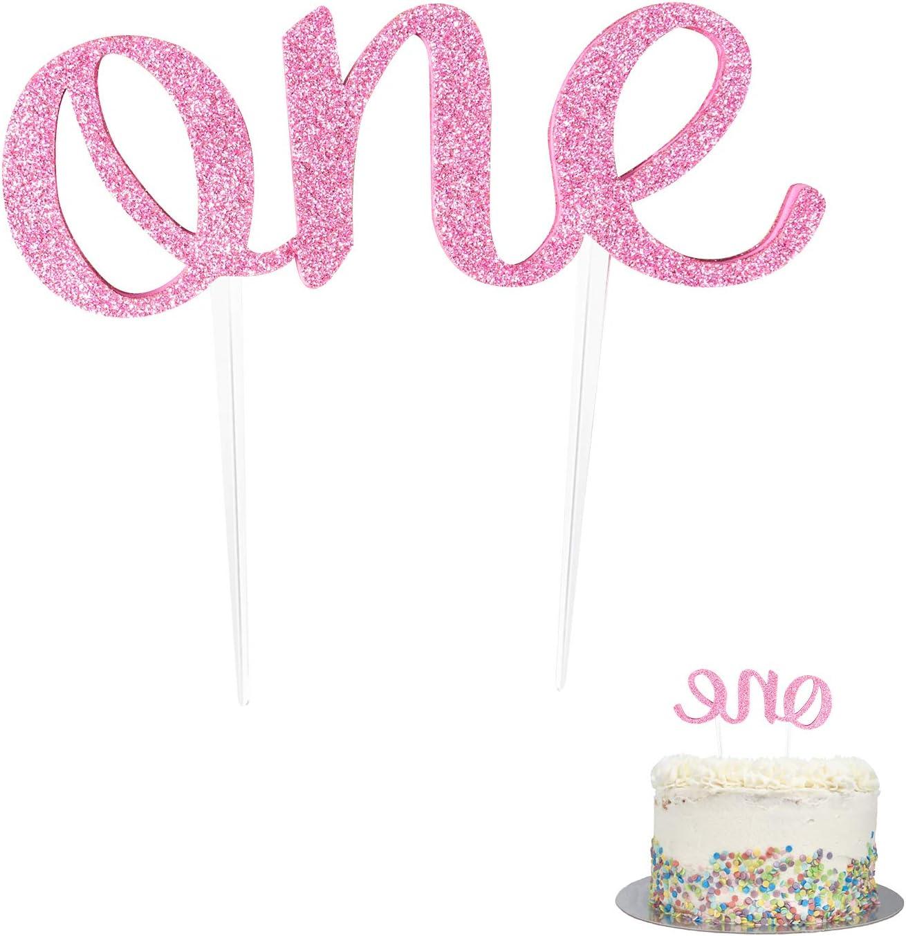 First Birthday Cake Topper 1st Birthday Topper Double Cake Topper Olabi 1st Birthday One Cake Topper One Year Old Cake Topper First anniversary Cake Topper Baby Shower Cake Topper Decorations Pink
