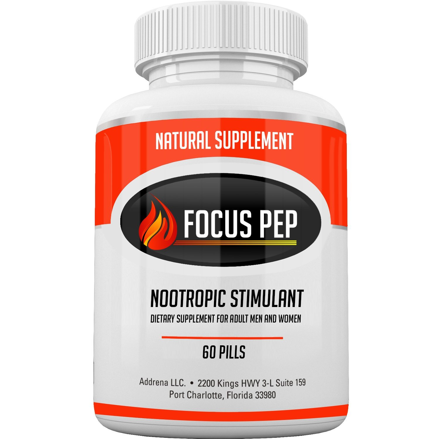 Addrena Focus Pep OTC Stimulants Brain Boosting Dietary Supplement, 1207 mg, 60 Tablets by Addrena