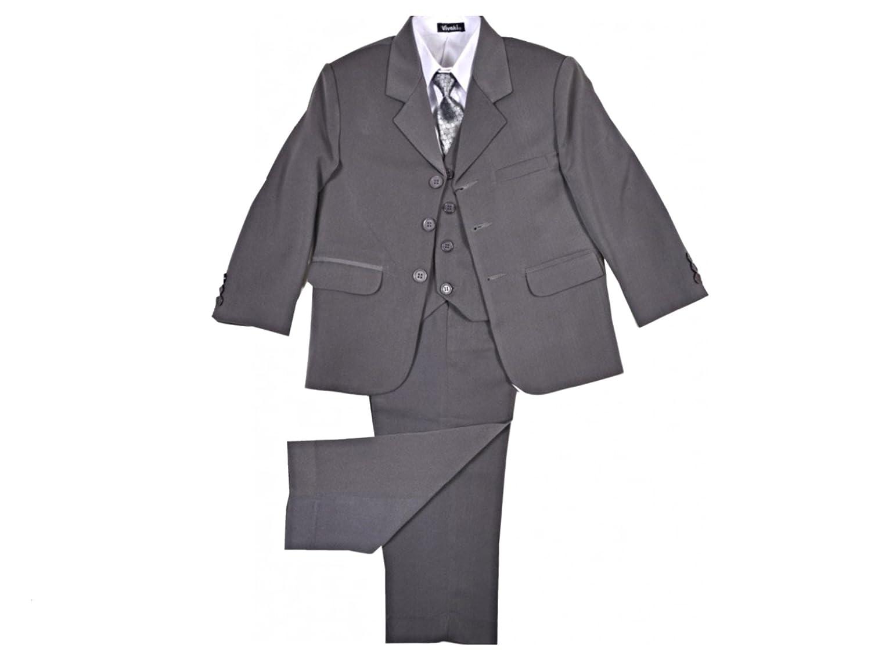 Boys 5-Piece Grey Wedding Suit