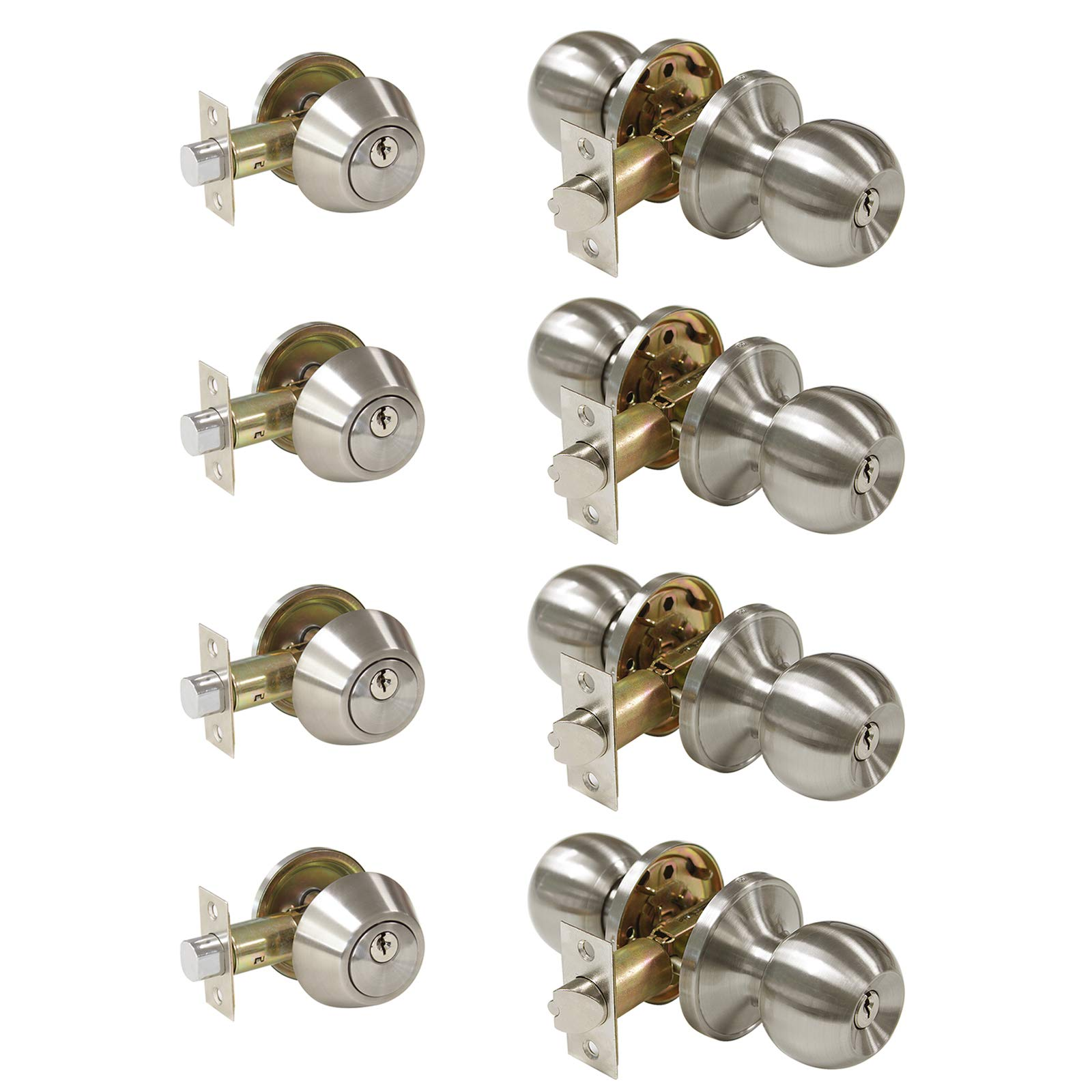All Keyed Same Entry Door Knobs with Single Cylinder Deadbolt for Exterior Front Doors, Satin Nickel Finish, Keyed Alike for Every Set, Contractor Pack of 4