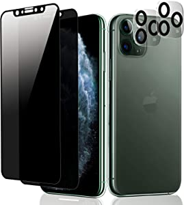 "iPhone 11 Pro Max Privacy Screen Protector and Camera Lens Protector, [2 Pack Screen Protector+2 Pack Camera Lens Protector] Anti-Spy Tempered Glass for 6.5"" iPhone 11 Pro Max 2019, Easy Installation, Case Friendly, Bubble Free"