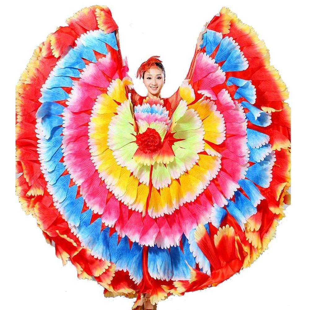 Seven 180 Couleur jupe XL Wgwioo femmes FlaHommesco Robe 180 360 540 720 Devert Fleurs Doubles Manches Pétales Jupe Ouverture Grand Costume Moderne Chorale Costumes