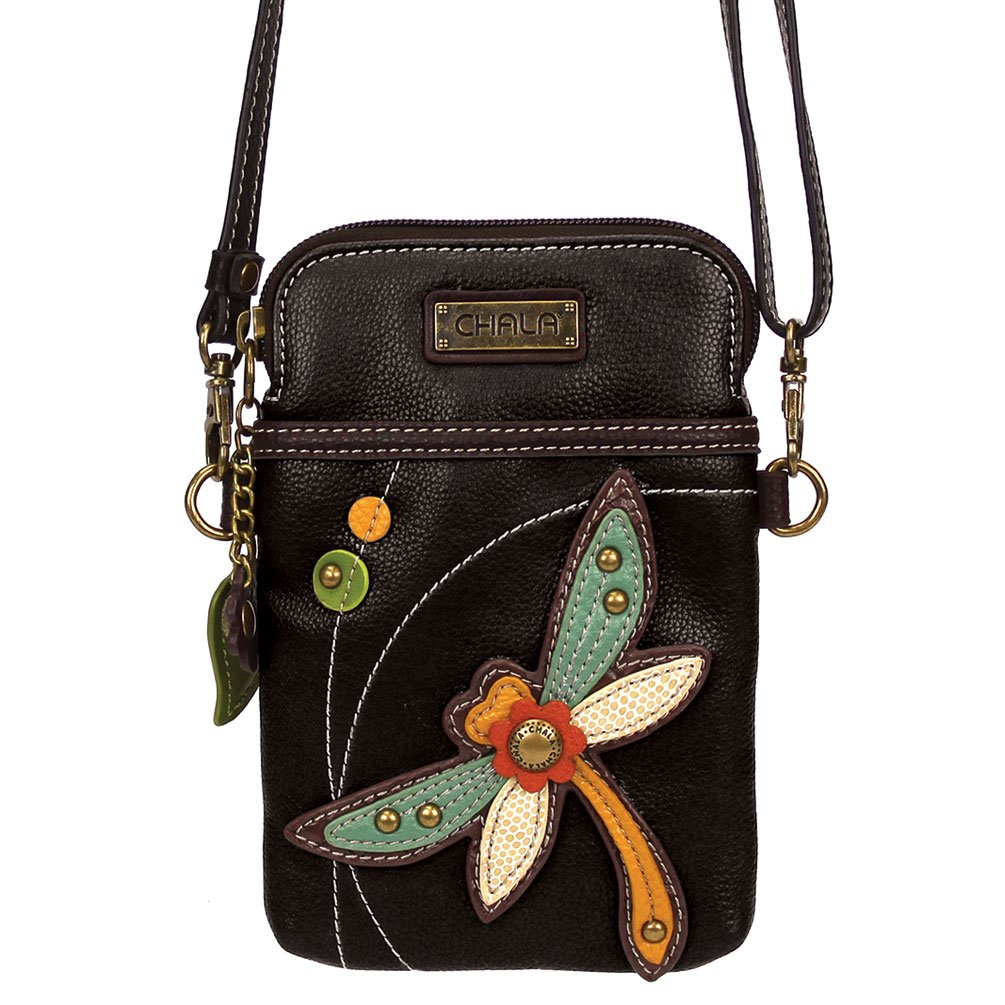 Chala Crossbody Cell Phone Purse - Women PU Leather Multicolor Handbag with Adjustable Strap - Dragonfly - Black
