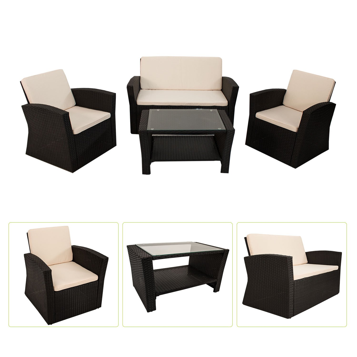 polyrattan sitzgruppe palm beach schwarz g nstig online kaufen. Black Bedroom Furniture Sets. Home Design Ideas