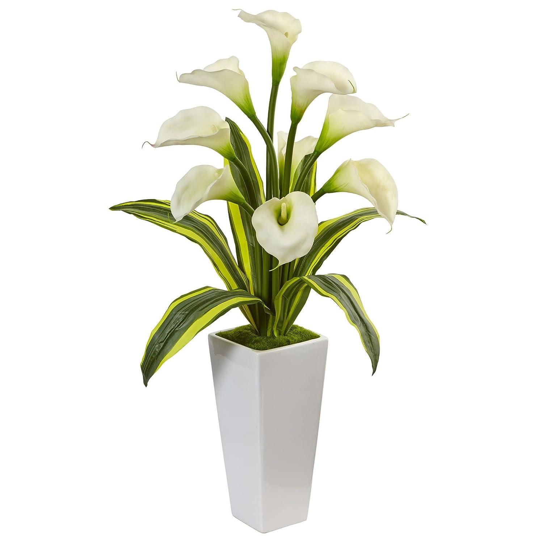 ほぼ自然Calla Lilies with Tropical LeavesシルクArrangement、ホワイト B073QN3YX2