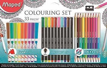 Maped 897417 - Kit de dibujo, 33 piezas lápices y rotuladores