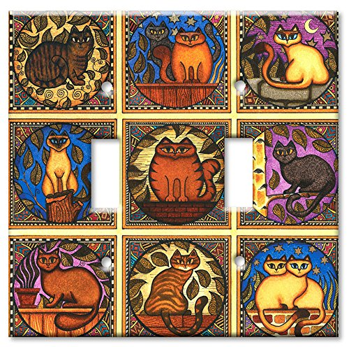 Metal Mosaic Plates - Art Plates - Double Gang Toggle OVERSIZE Switch Plate/OVER SIZE Wall Plate - Mosaic Cats