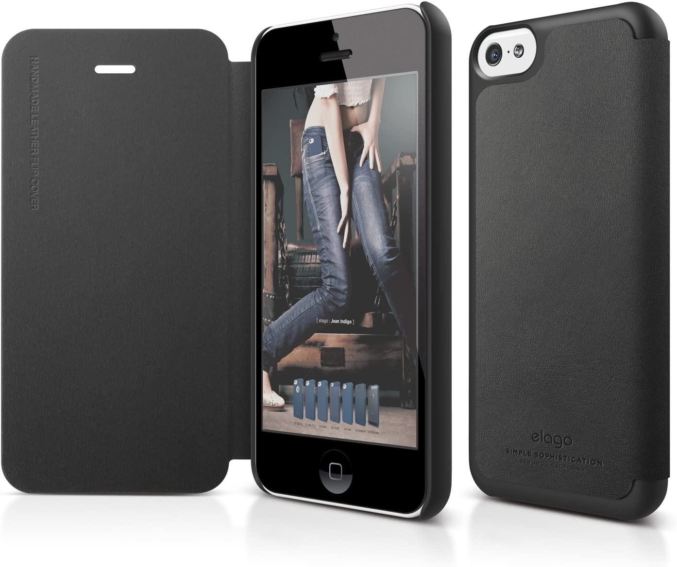 elago S5C Leather Case for iPhone 5C + HD Professional Extreme Clear film included - Full Retail Packaging (Black)