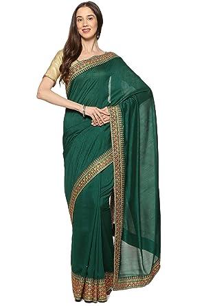 305d39cb5e2f3 Soch Dark Green Silk Embroidered Saree  Amazon.in  Clothing ...