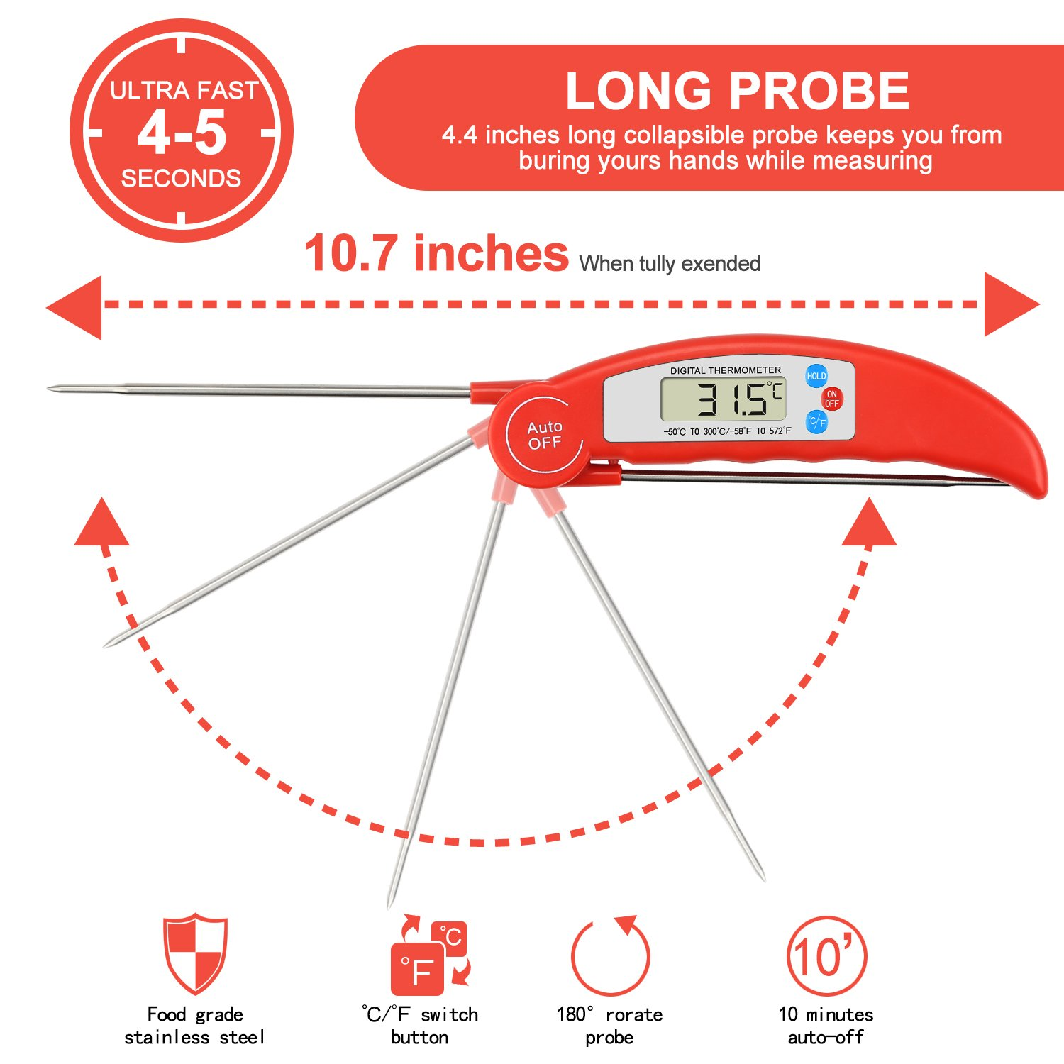 Meat Thermometer,BBQ Thermometer Digital Meat Thermometer Cooking Thermometer Instant Read Thermometer Food Thermometer Kitchen Thermometer for BBQ Grill Smorker Food Meat Milk Tea etc (Red)