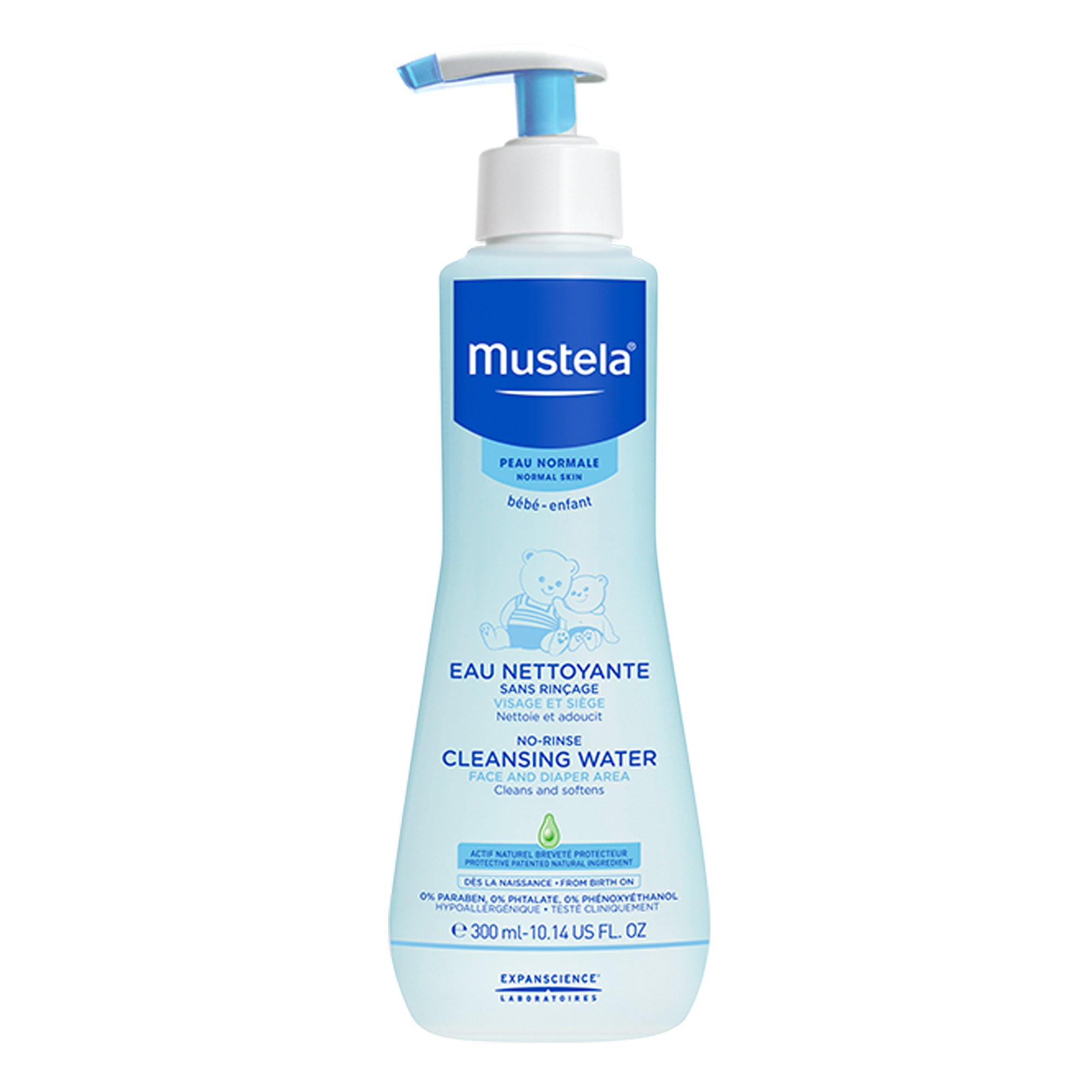 Mustela No Rinse Cleansing Water, Gentle Micellar Water with Natural Avocado Perseose and Aloe Vera