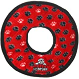 TUFFY No Stuff Ultimate Ring, Durable Squeaky Dog Toy, Red Paw