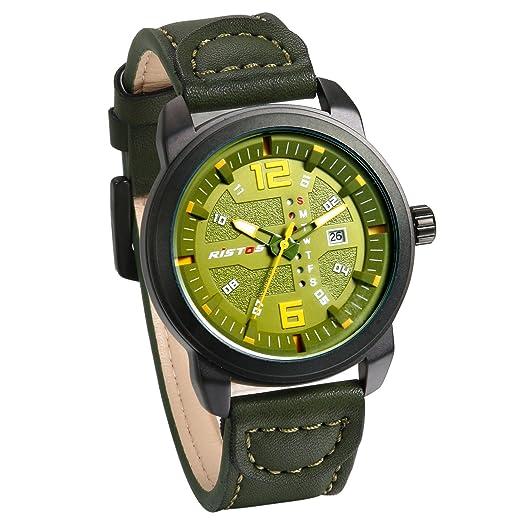 JewelryWe Grande Reloj Militar Deportivo Para Hombre, 3 ATM A Prueba de Agua Reloj Verde Con Calendario Para Aire Libre, Punteros Noctilucente, ...